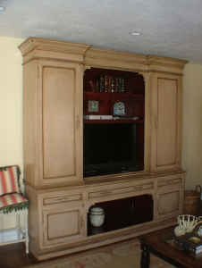 Custom Distressed Entertainment Center - Legacy Mill & Cabinet
