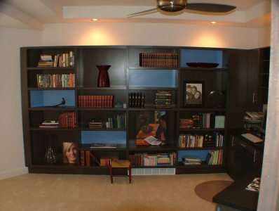 Open shelf entertainment center with attached desk- Legacy Mill & Cabinet