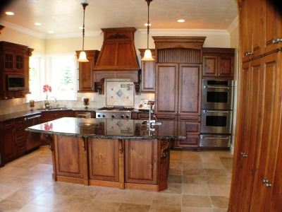 Custom Kitchen with island custom designed, built and installed for a private residence in Utah by Legacy Mill & Cabinet LLC.