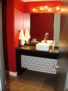 A modern bathroom vanity designed and built by Legacy Mill & Cabinet.